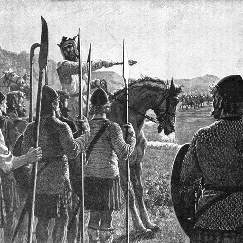 Robert the Bruce passa em revista às tropas antes da Batalha de Bannockburn. Battle of Bannockburn - Bruce addresses troops