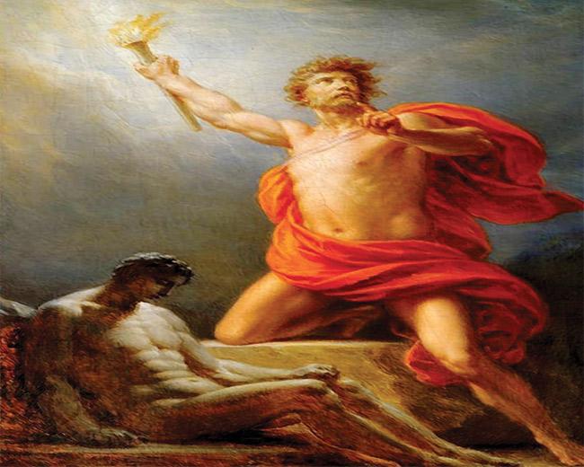 Prometheus brings fire to mankind (Prometeu traz o fogo para a humanidade) 1817. Heinrich Fuger